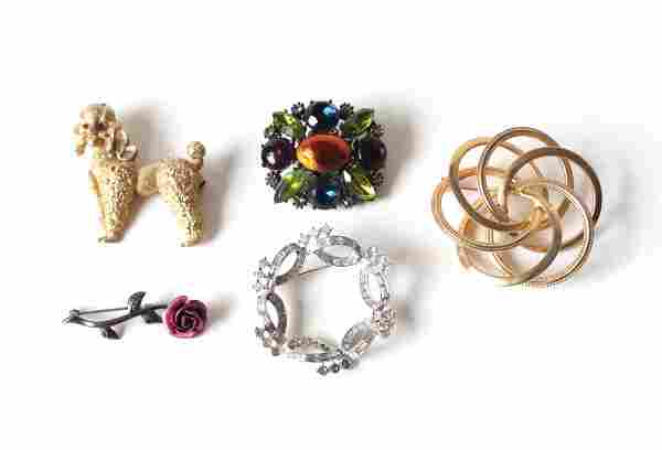Vintage Costume Jewelry Brooch Lot of 5, incl. Yosca