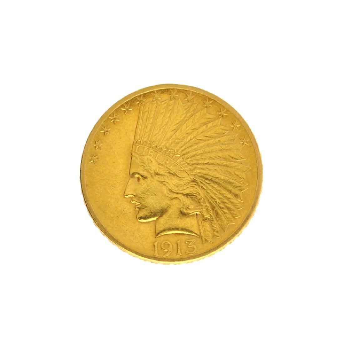 *1913 $10 U.S. Indian Head Gold Coin (DF)