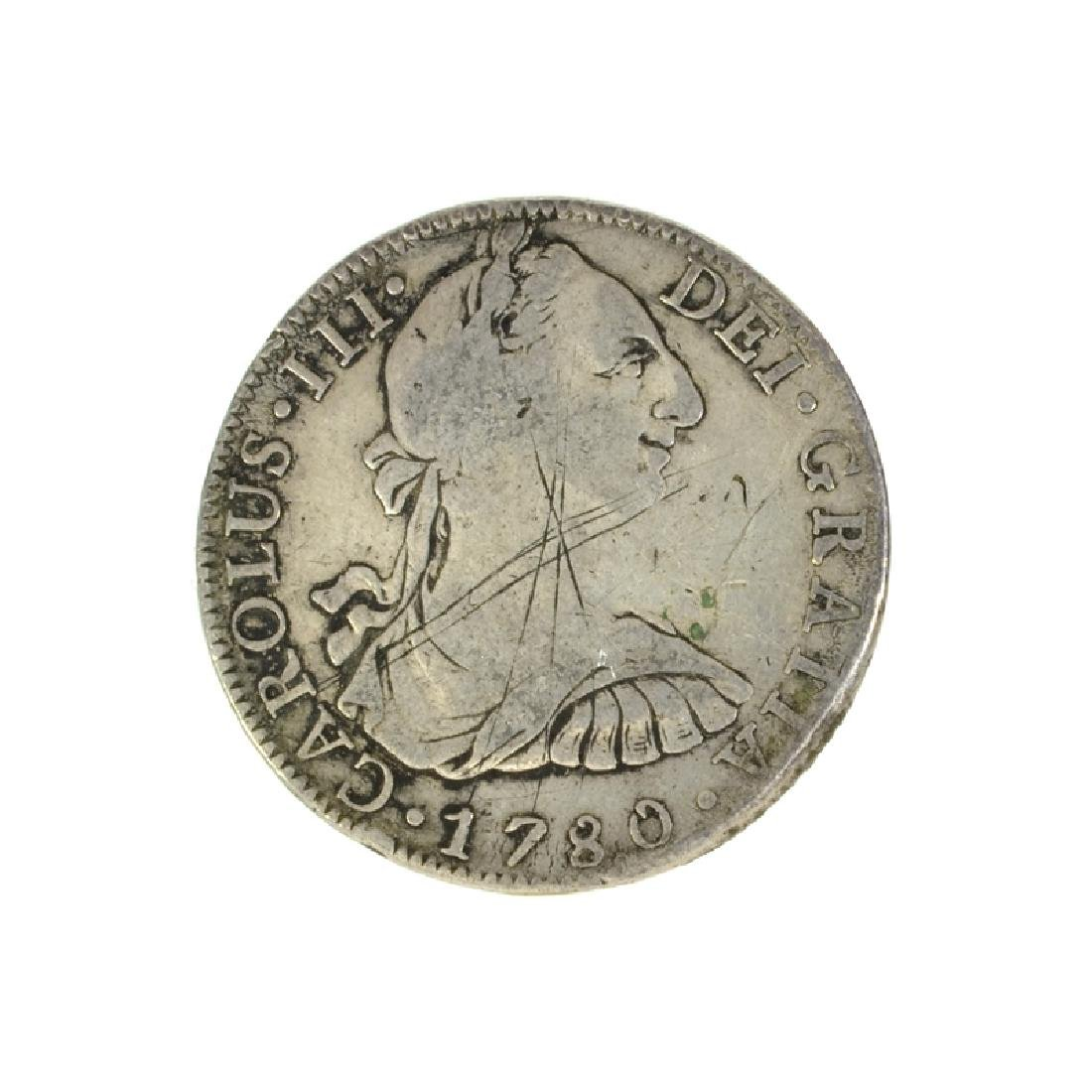 1780 Eight Reales American First Silver Dollar Coin