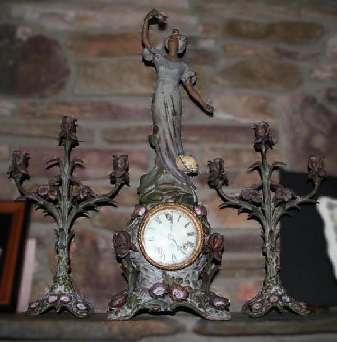 3 Pc Original Ansonia Clock-Mint Condition -P-