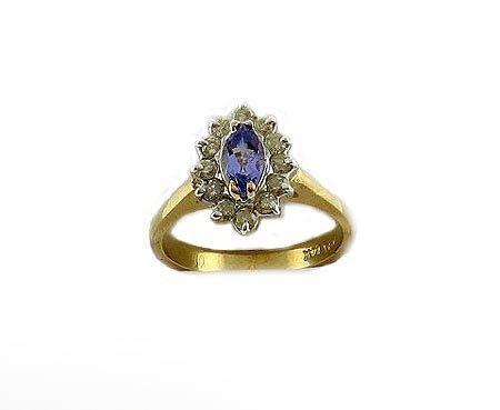 50: GOV: 14 kt. Gold, Marquise Tanzanite and Diamond Ri