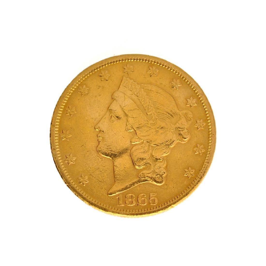 *1865-S $20 U.S. Liberty Head Gold Coin (DF)