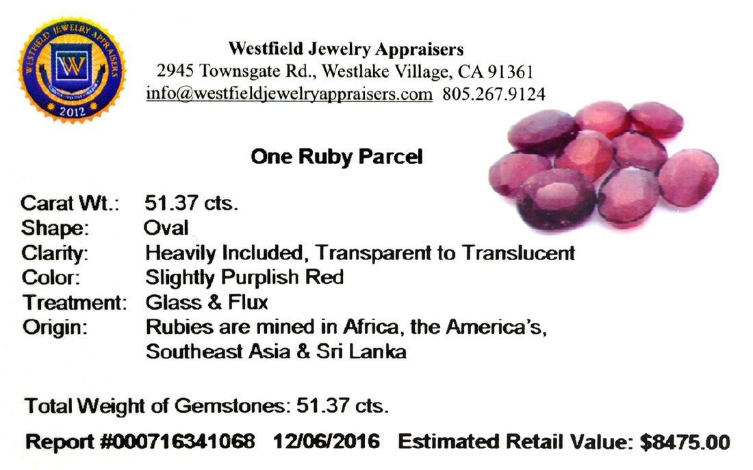 APP: 8.5k 51.37CT Oval Cut Ruby Parcel - 2
