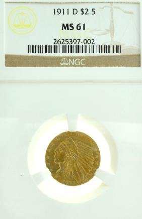 *1911-D $2.5 U.S. MS 61 NGC Indian Head Gold Coin