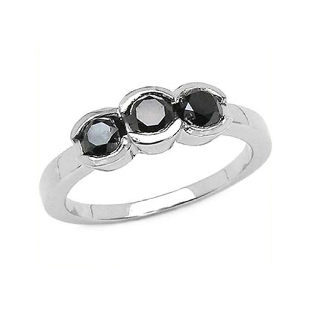 *Fine Jewelry 1.16CT Round Cut Black Diamond And