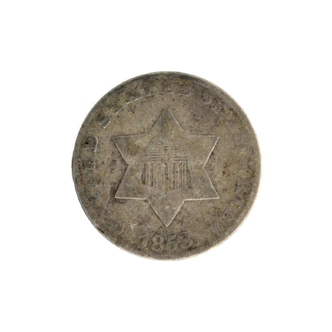 1853 Silver Three-Cent Coin