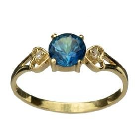 APP: 0.5k 14 kt. Gold, 1.09CT Round Cut Blue Topaz And