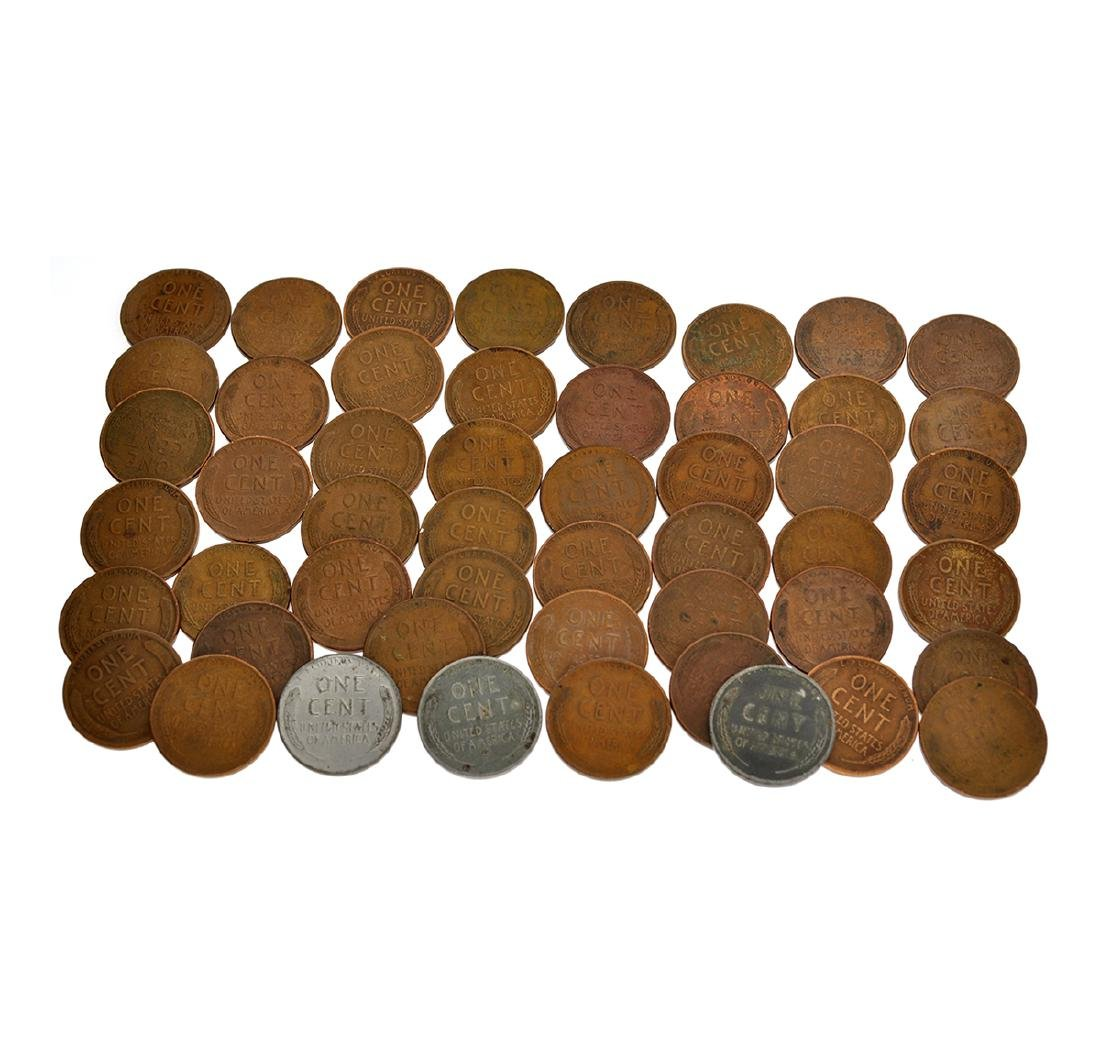 50 Assorted 1909 - 1958 Wheat Pennies Coin - 2