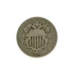 Rare 1869 Shield Nickel Coin