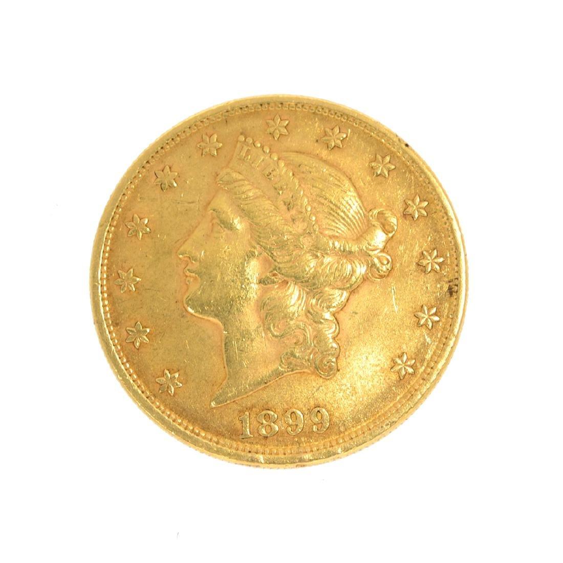 *1899 $20 U.S. Liberty Head Gold Coin (DF)