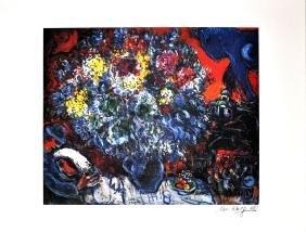 MARC CHAGALL (After) Bouquet de Fleurs et Amants Print,