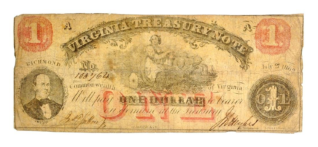 Rare 1861 $1 Virginia Treasure Note