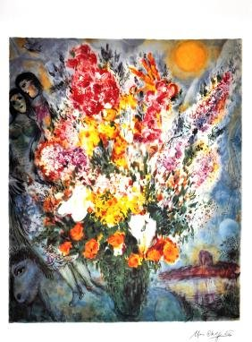 MARC CHAGALL (After) Floral Bouquet Print, I458 of 500