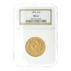 *1893 $10 U.S. MS 63  Liberty Head Gold Coin (DF)