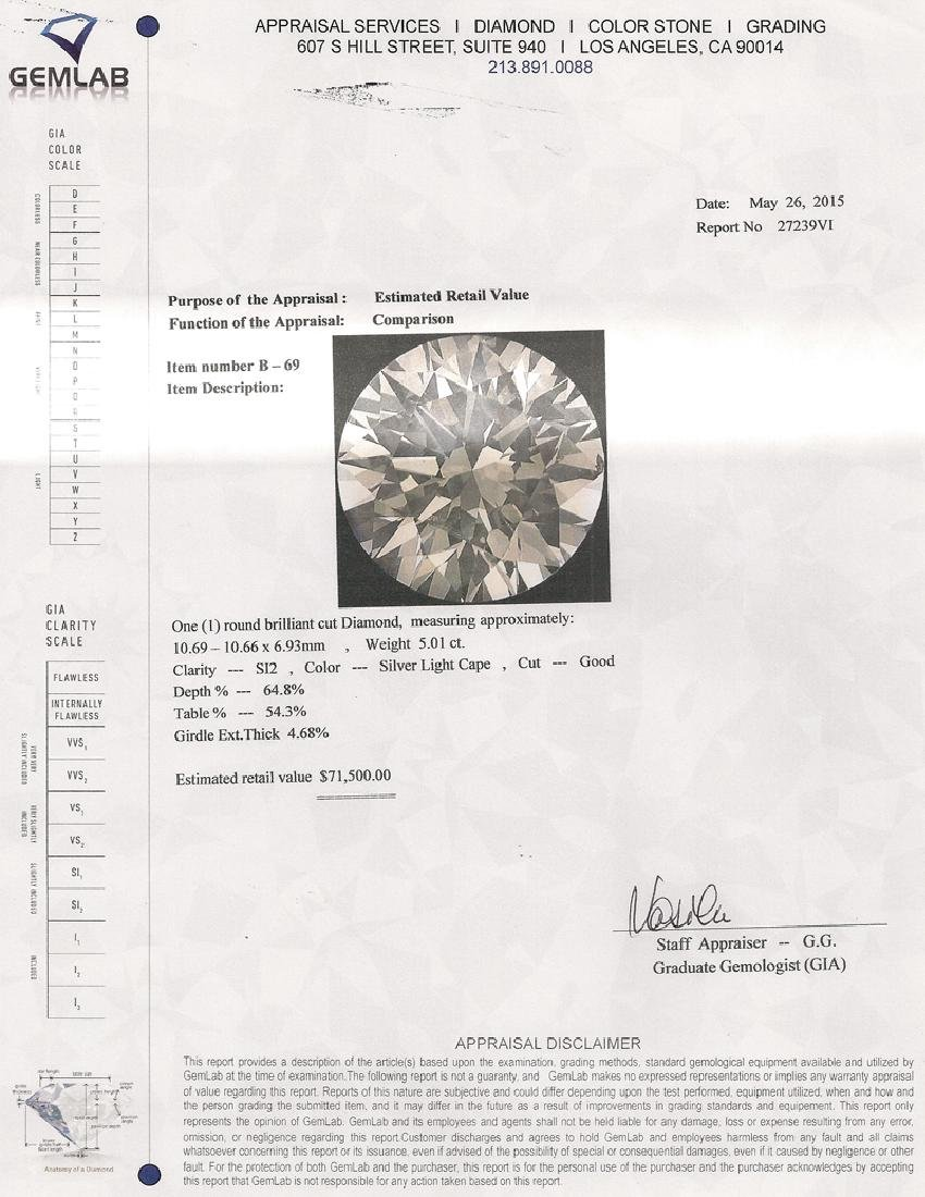 APP: 71.5k *Fine Jewelry 5.01CT Round Brilliant Cut - 2