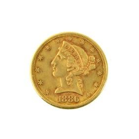 *1886-S $5 U.S. Liberty Head Gold Coin (JG-JWJ)