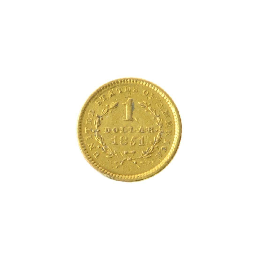 *1851 $1 U.S. Liberty Head Gold Coin (JG-MRT) - 2