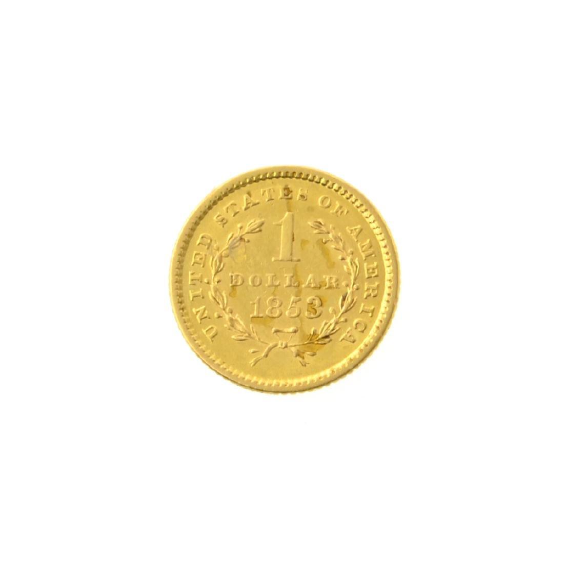 *1853 $1 U.S. Liberty Head Gold Coin (JG-MRT) - 2