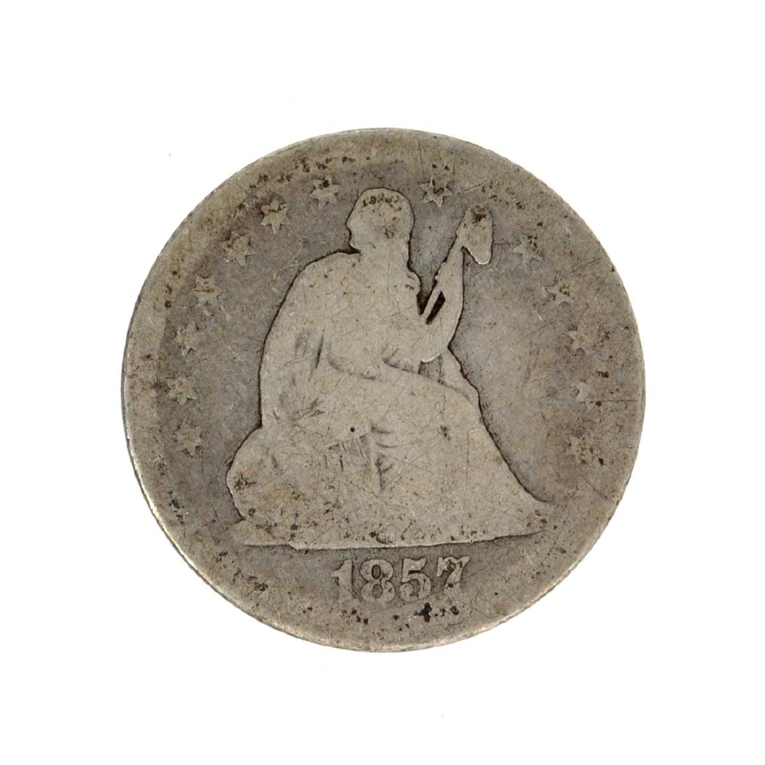 1857 Liberty Seated Quarter Dollar Coin