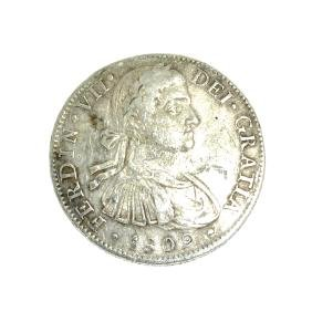 1809 Eigth Reales American First Silver Dollar Coin