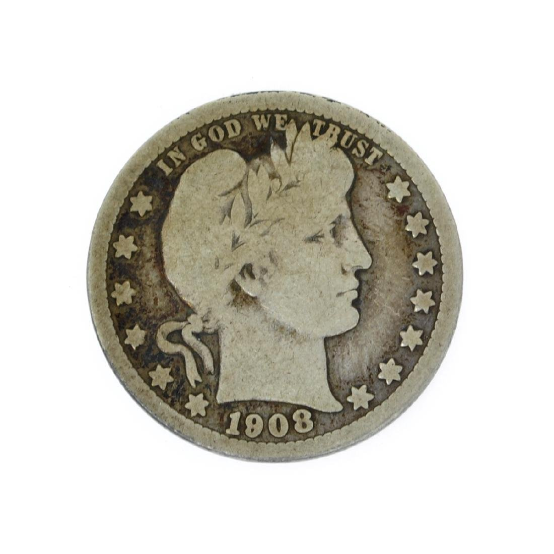 Rare 1908-D Barber Quarter Dollar Coin