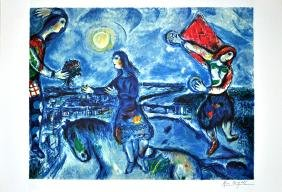 MARC CHAGALL (After) Lovers Over Paris Print, 212 of