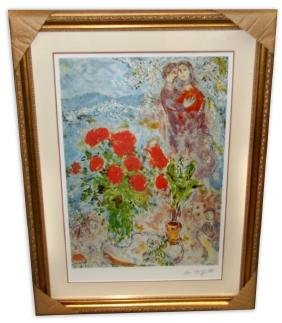 Marc Chagall (After) 'Red Bouquet with Lovers'  Framed