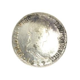 1817 Eigth Reales American First Silver Dollar Coin