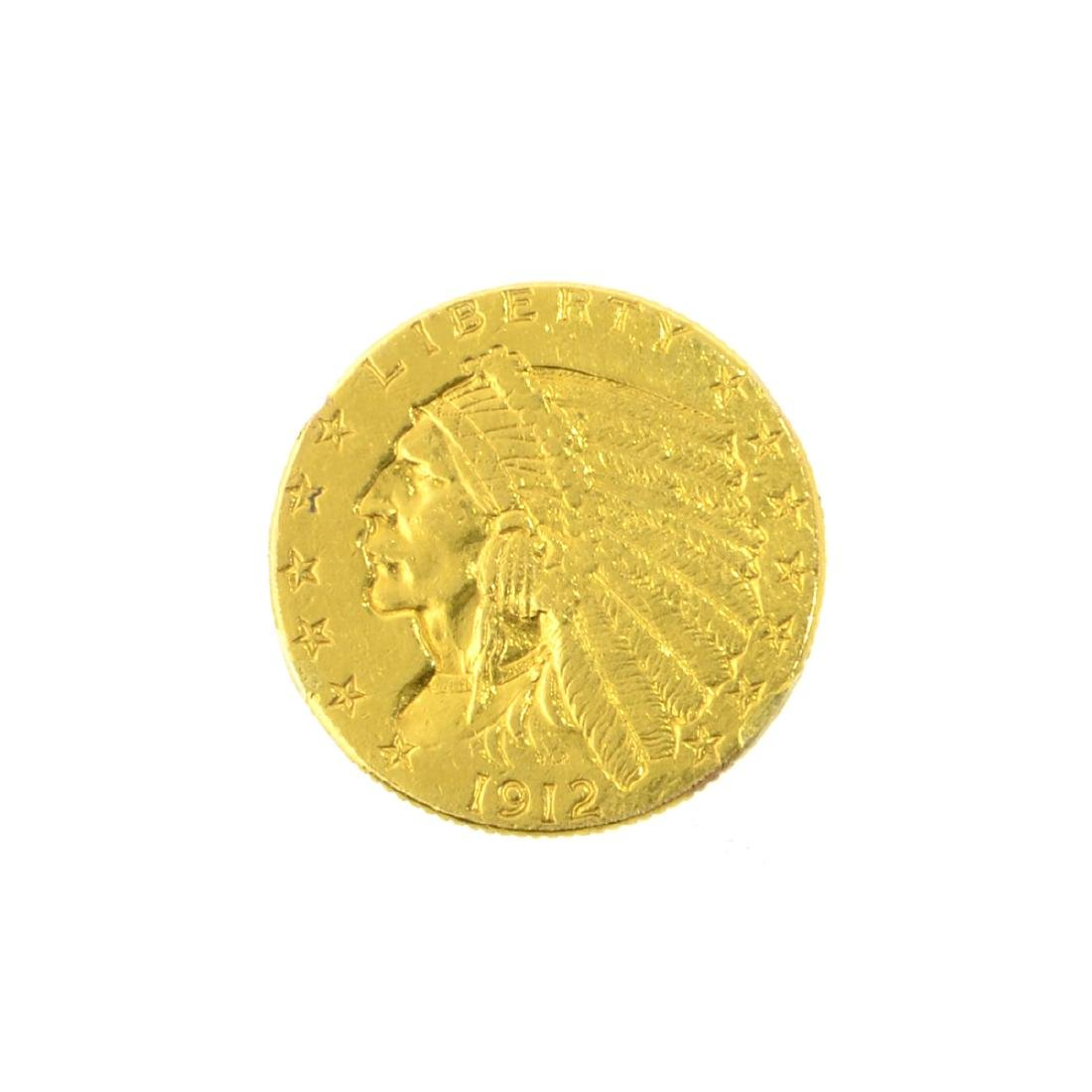 *1912 $2.50 U.S. Indian Head Gold Coin (JG-JWJ)