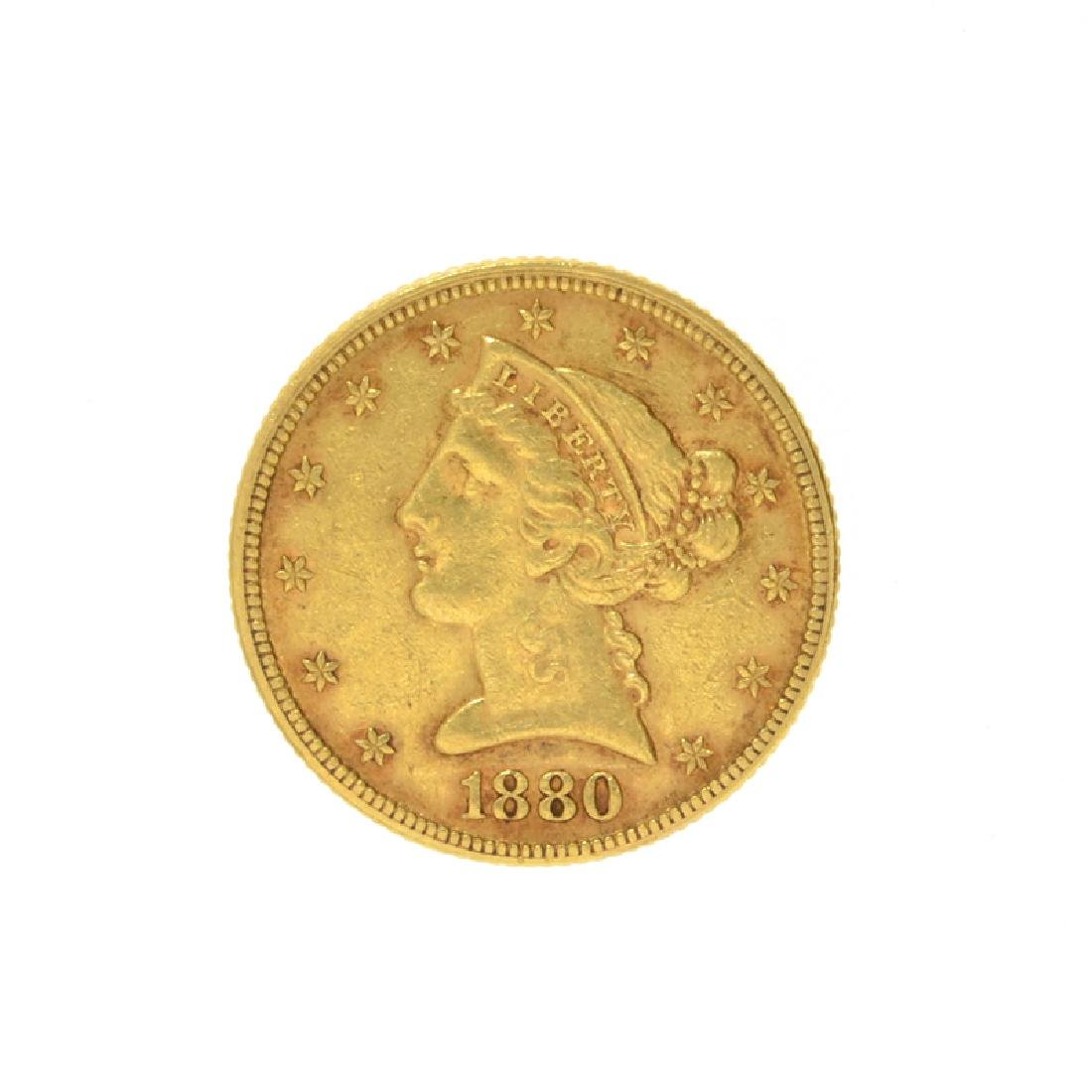 1880 $5 U.S. Liberty Head Gold Coin