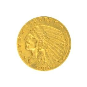 *1910 $2.50 U.S. Indian Head Gold Coin - Great