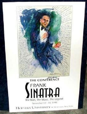 Hand Signed LeRoy Neiman: Sinatra at Hofstra