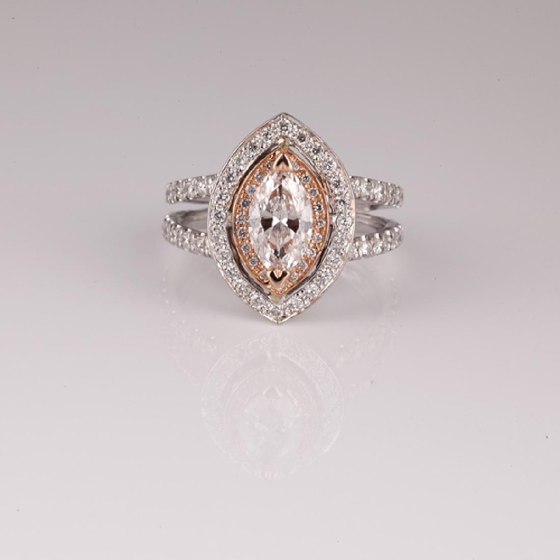 APP: 22.4k *14 kt. White/Rose Gold, 1.53CT Diamond Ring