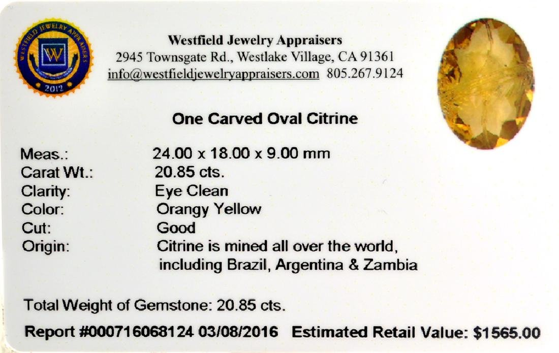 APP: 1.6k 20.85CT Carved Oval Cut Citrine Gemstone - 2