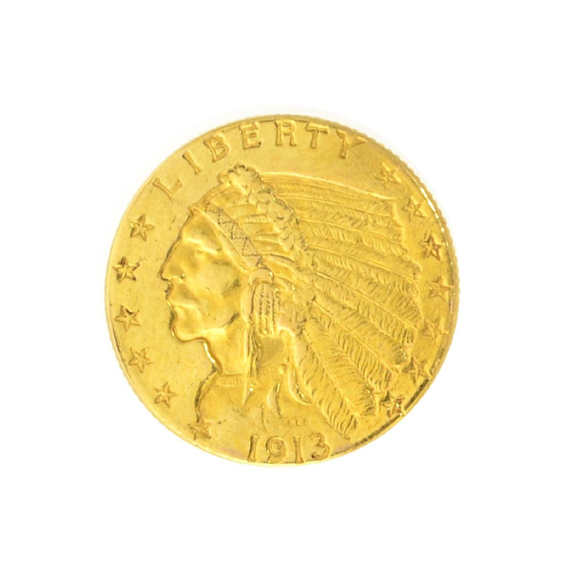 *1913 $2.50 U.S. Indian Head Gold Coin - Great