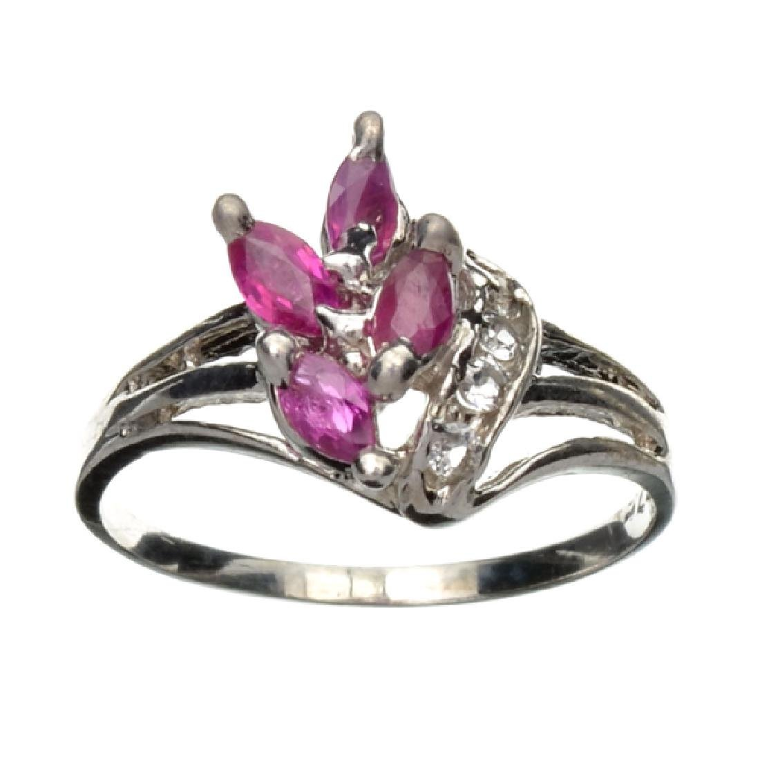 APP: 0.8k 0.31CT Ruby And Topaz Platinum Over Sterling