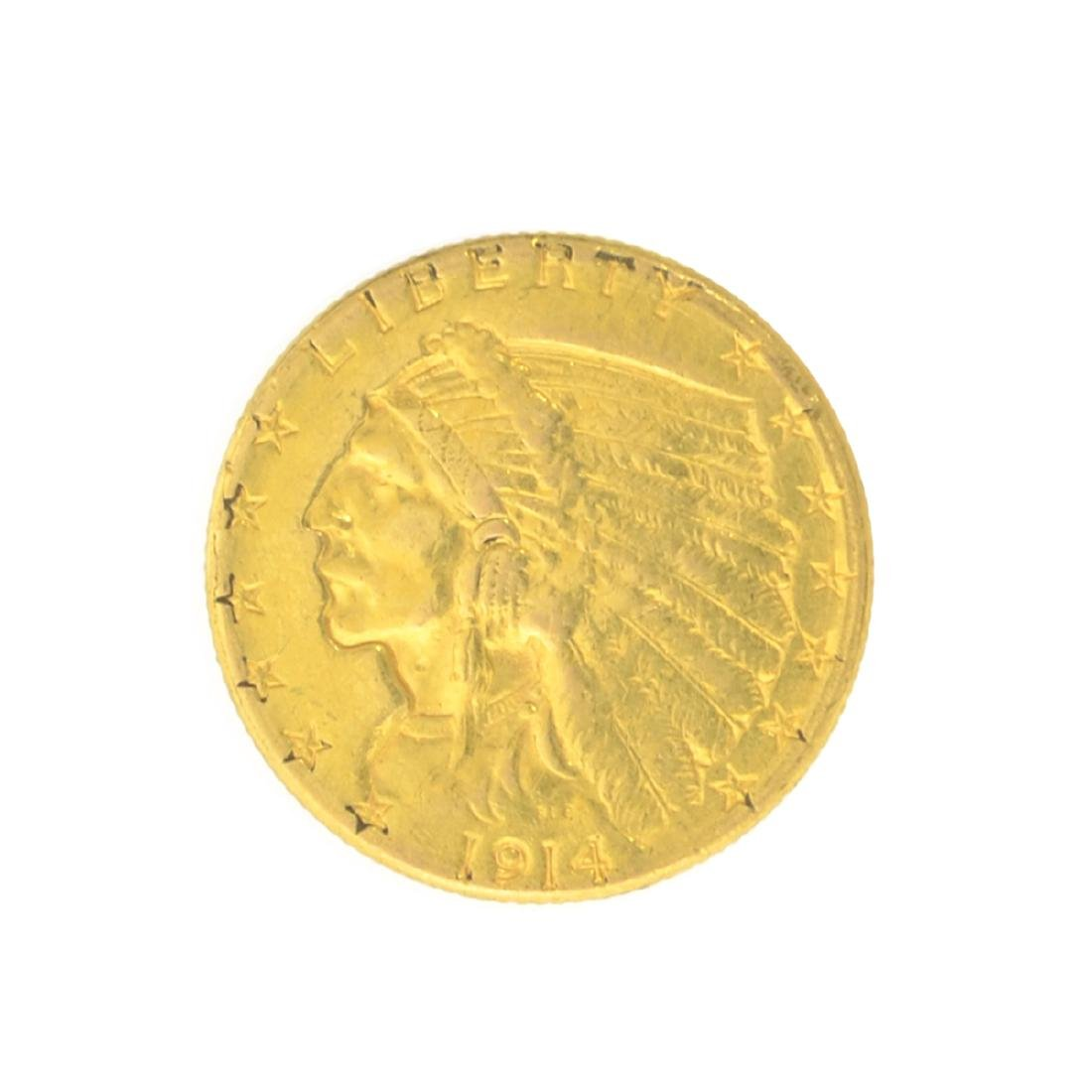 *1914-D $2.50 U.S. Indian Head Gold Coin - Great