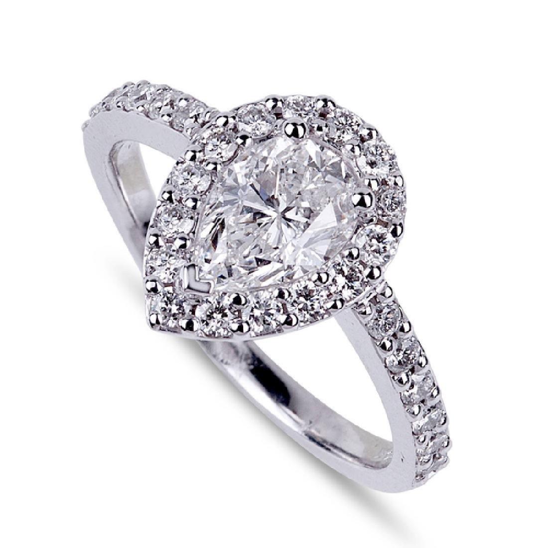 APP: 16k *14 kt. White Gold, 1.07CT Pear Cut Diamond