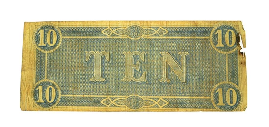 1864 $10 Confederate Note - 2