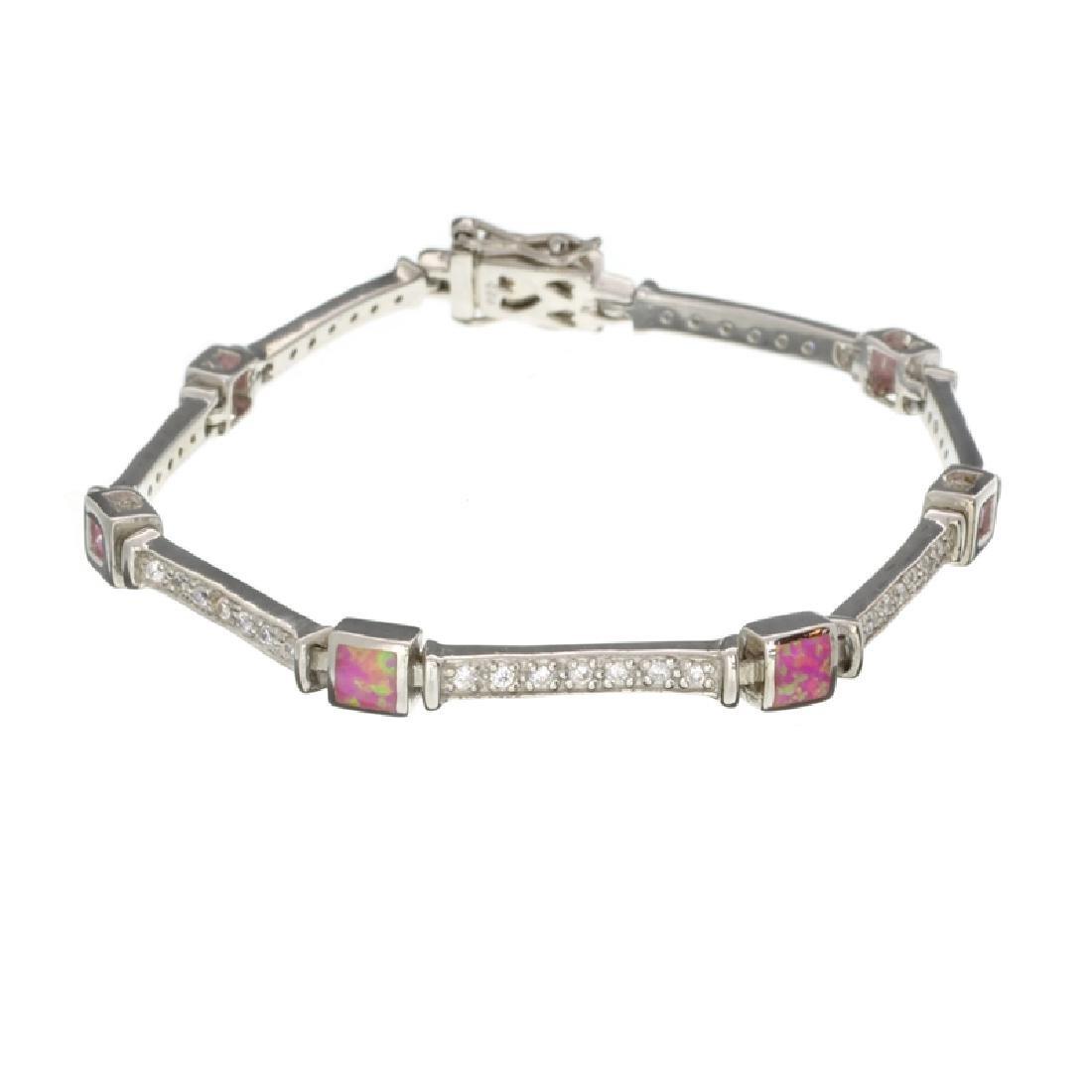 Platinum Over Sterling Silver French Zirconium Bracelet