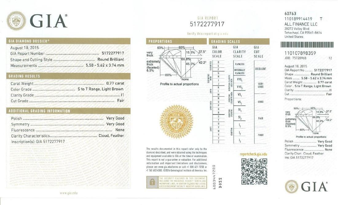 Fine Jewelry GIA Certified 0.77CT Brilliant Round Cut - 2