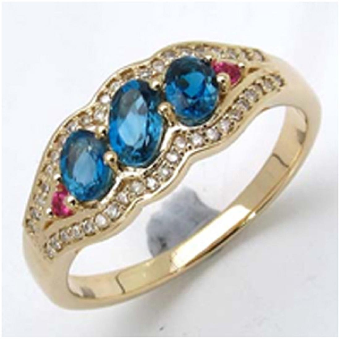 *Fine Jewelry 14K Gold, 3.21CT London Blue Topaz Oval +