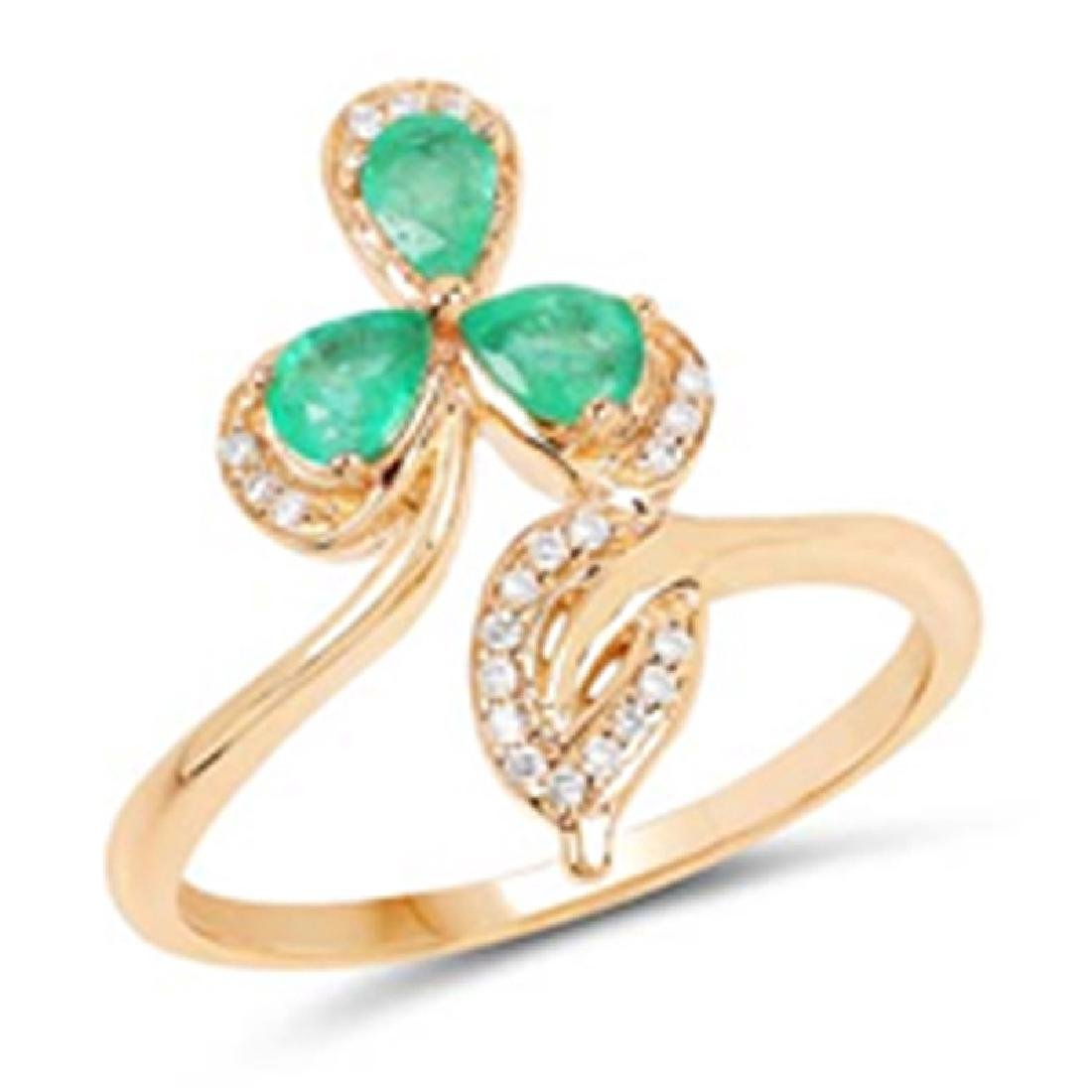 *Fine Jewelry 14KT Gold, 3.52CT Zambian Emerald Pears