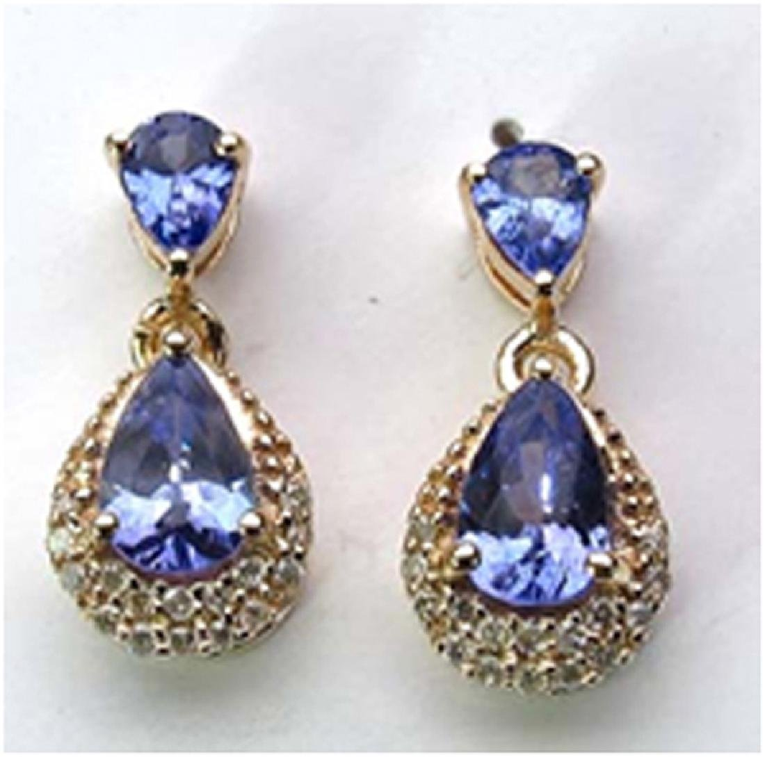 *Fine Jewelry 14K Gold, 2.13CT Tanzanite Pears And