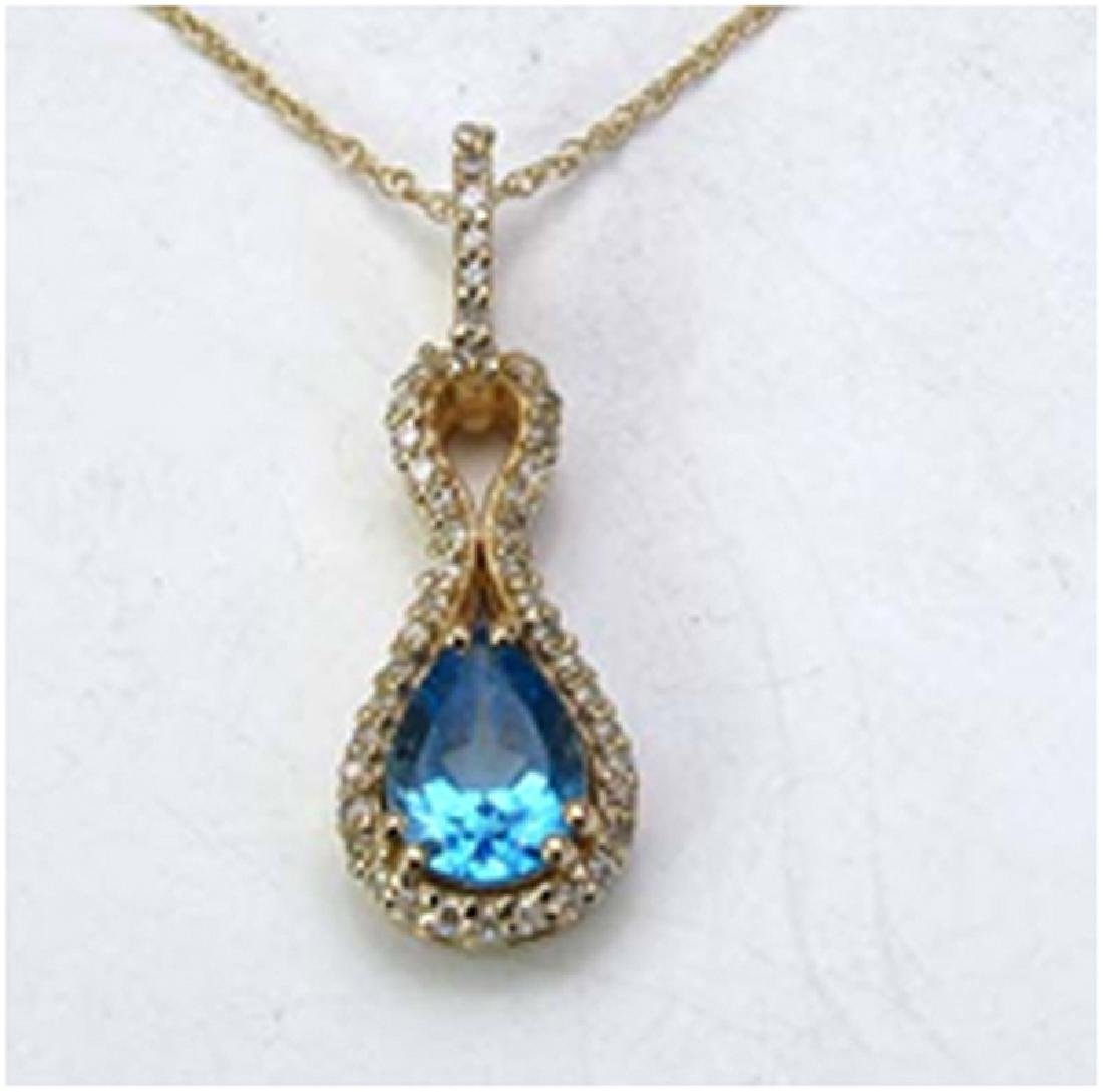 *Fine Jewelry 14K Gold, 2.26CT Swiss Blue Topaz Pears
