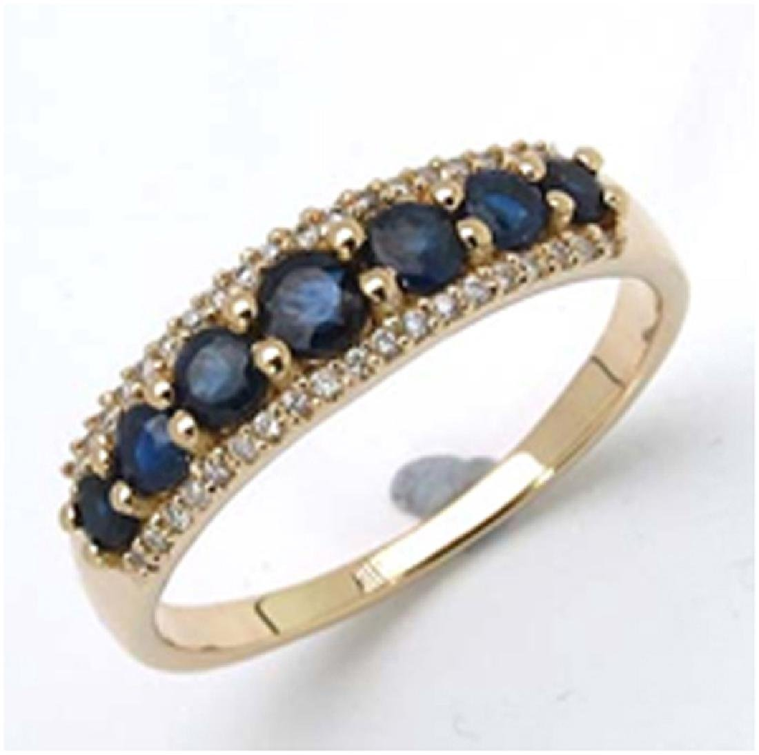 *Fine Jewelry 14K Gold, 2.85CT Blue Sapphire And White