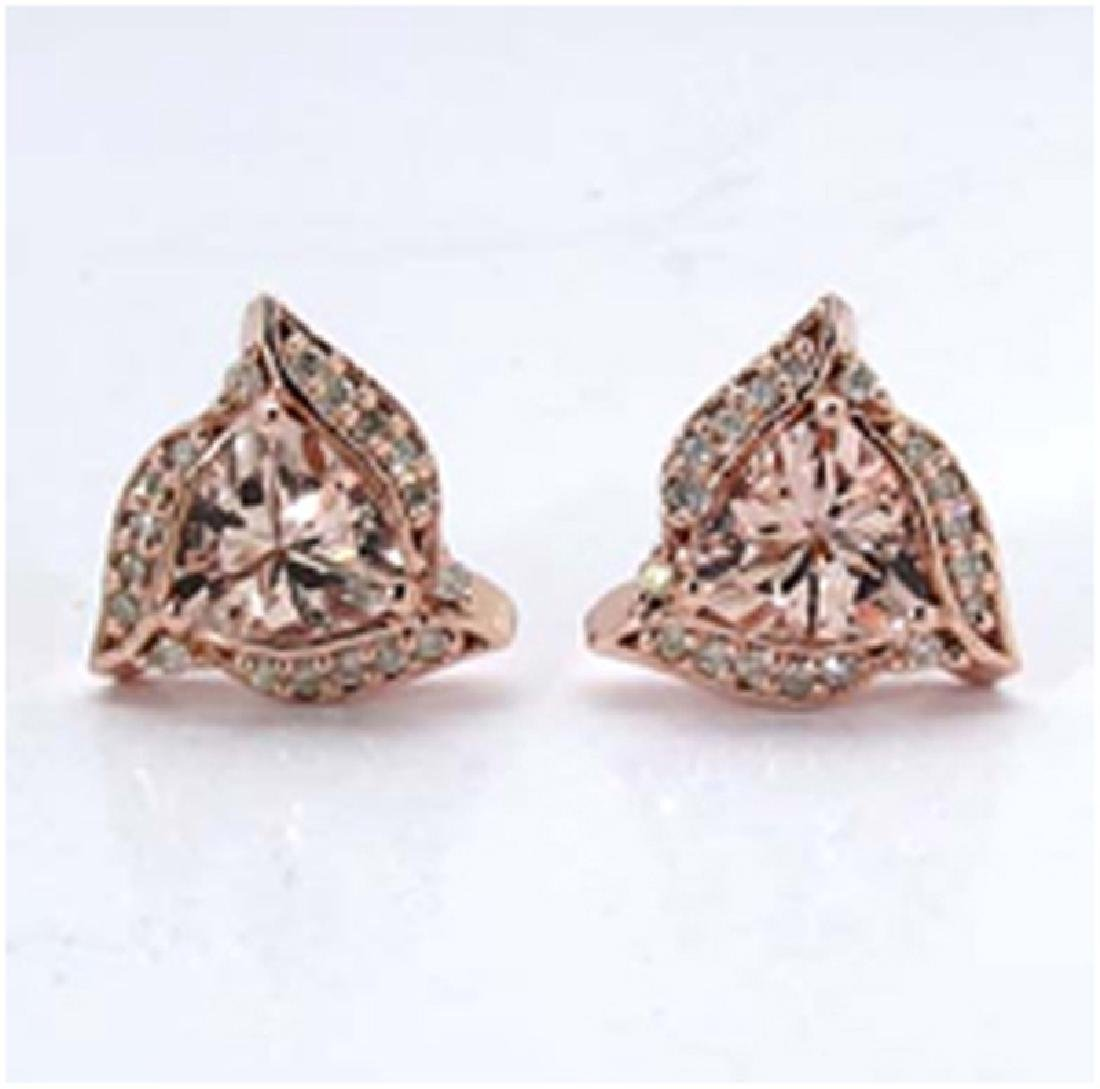 *Fine Jewelry 14K Gold, 2.95CT Morganite Trillion And