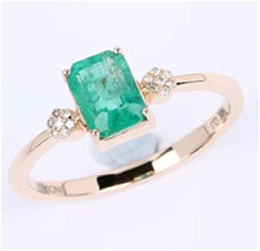 *Fine Jewelry 14K Gold, 2.10CT Zambian Emerald Octagon