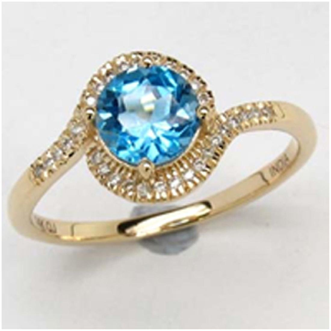 *Fine Jewelry 14K Gold, 2.18CT Swiss Blue Topaz Round