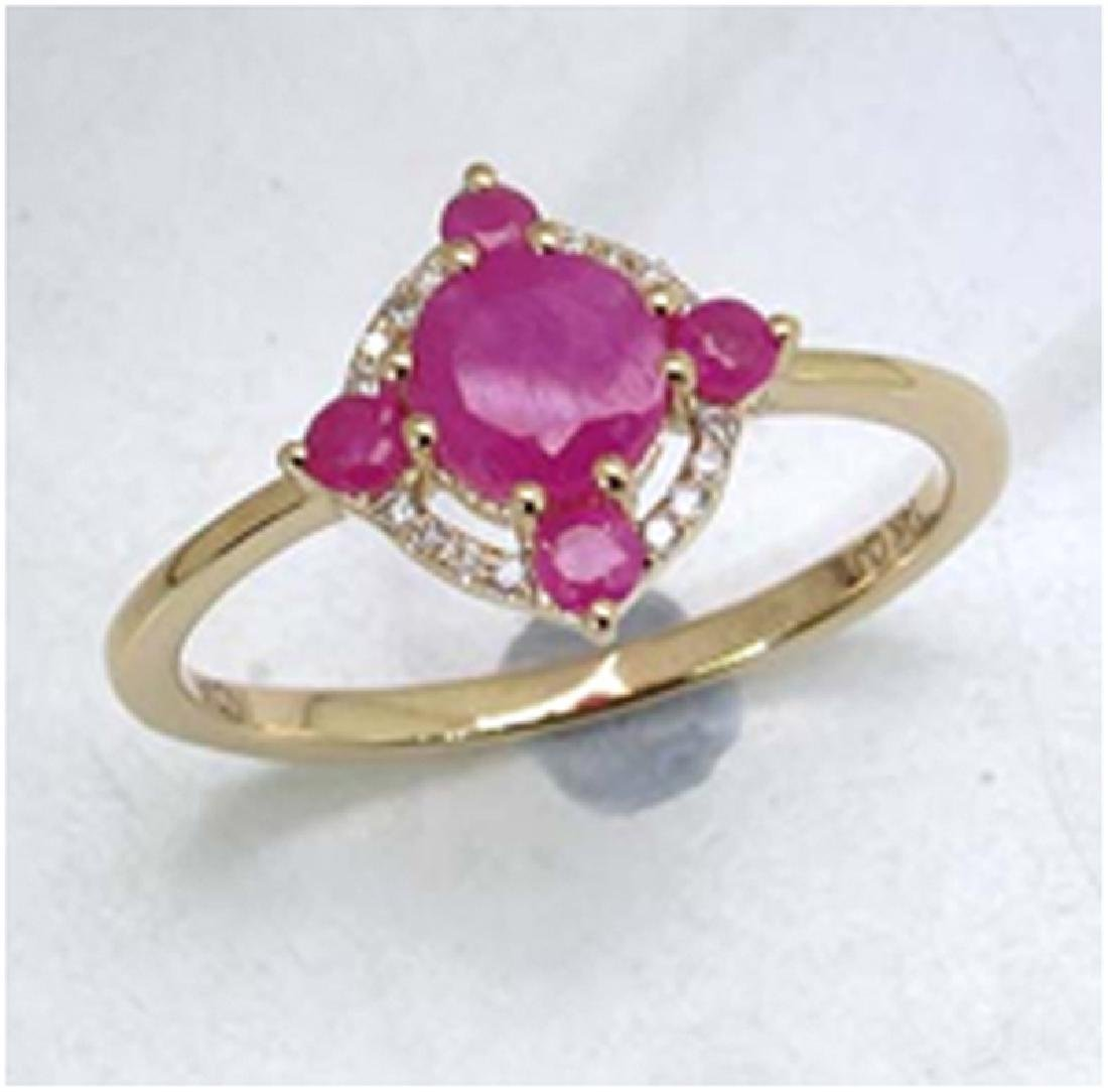 *Fine Jewelry 14K Gold, 2.12CT Ruby Round And White